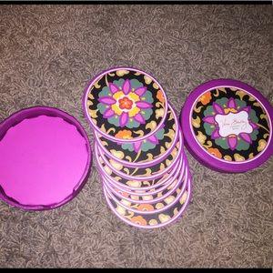 Vera Bradley 8 Coasters in case- Suzani pattern